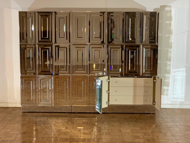 American Unique Hollywood Regency Custom Ello Mirrored Breakfront or Sideboard with Bar For Sale