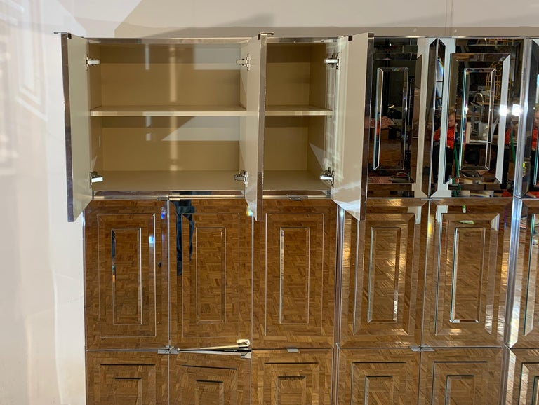 Late 20th Century Unique Hollywood Regency Custom Ello Mirrored Breakfront or Sideboard with Bar For Sale