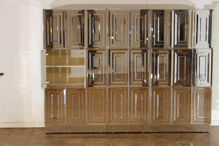 Glass Unique Hollywood Regency Custom Ello Mirrored Breakfront or Sideboard with Bar For Sale