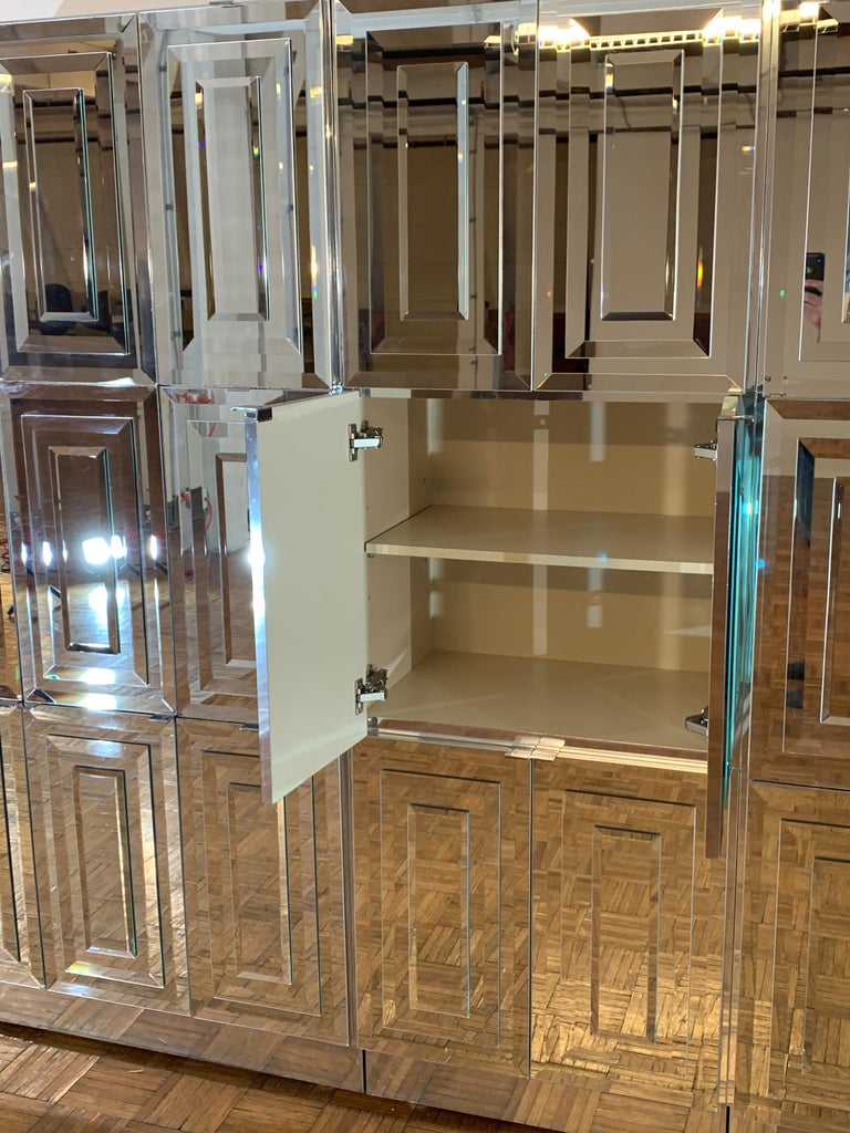 Unique Hollywood Regency Custom Ello Mirrored Breakfront or Sideboard with Bar For Sale 3