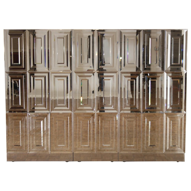 Unique Hollywood Regency Custom Ello Mirrored Breakfront or Sideboard with Bar For Sale