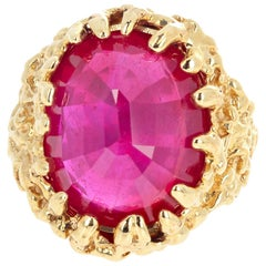 Unique Huge 15 Carat Ruby 14 Karat Yellow Gold Ring