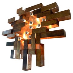 Unique Huge Copper Asymetrical Brutalist Wall Lamp, ca. 1970's