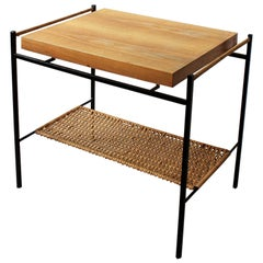 Unique Hungarian Modernist Iron and Wicker Side Table, 1950s