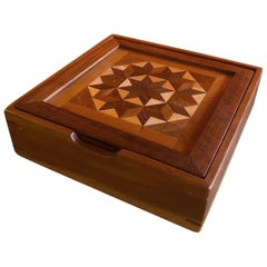 Unique Inlaid Marquetry Mixed Wood Box