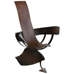Unique Iron and Leather Art Armchair