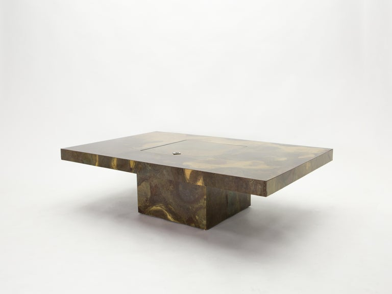 Unique Isabelle and Richard Faure Brass Coffee Table, 1970s For Sale 8