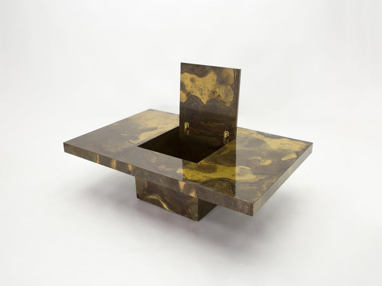 Mid-Century Modern Unique Isabelle and Richard Faure Brass Coffee Table, 1970s For Sale