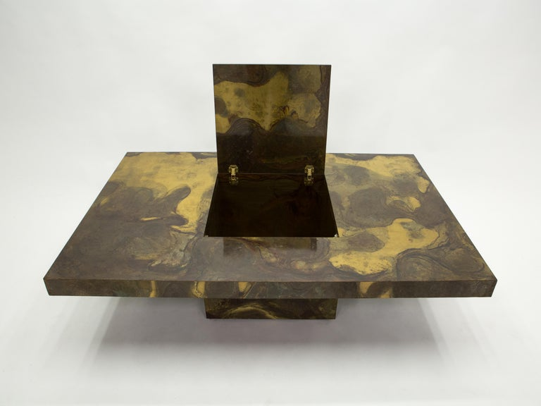 French Unique Isabelle and Richard Faure Brass Coffee Table, 1970s For Sale