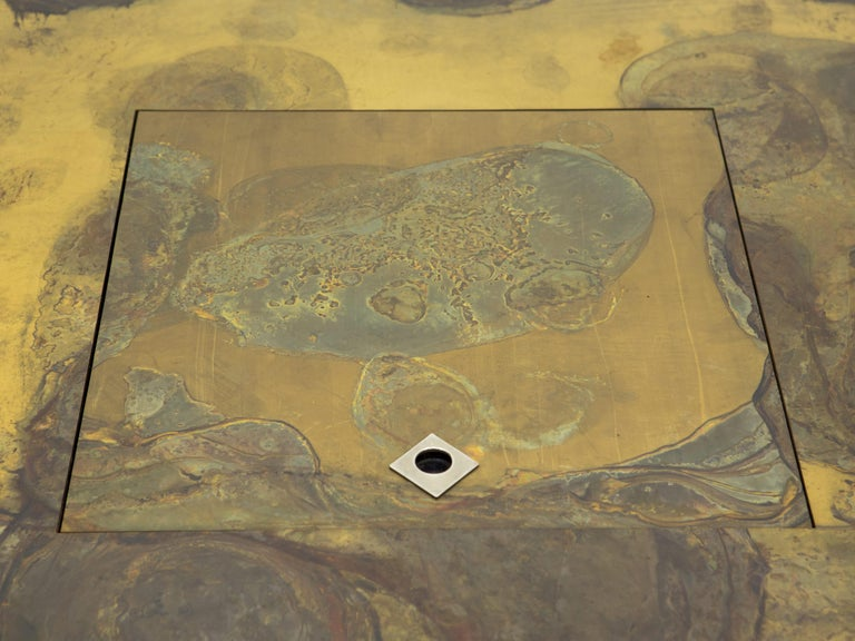 Late 20th Century Unique Isabelle and Richard Faure Brass Coffee Table, 1970s For Sale