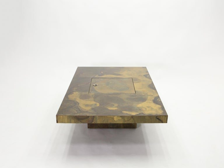 Unique Isabelle and Richard Faure Brass Coffee Table, 1970s For Sale 1