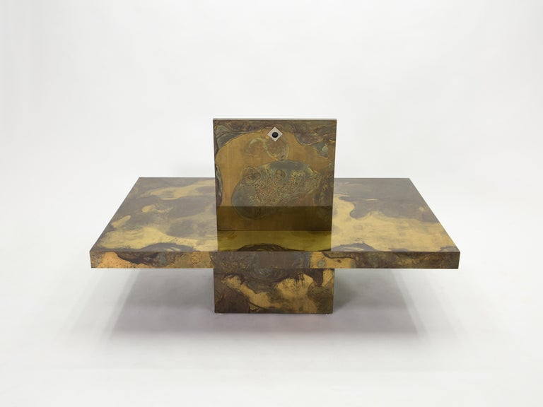 Unique Isabelle and Richard Faure Brass Coffee Table, 1970s For Sale 2