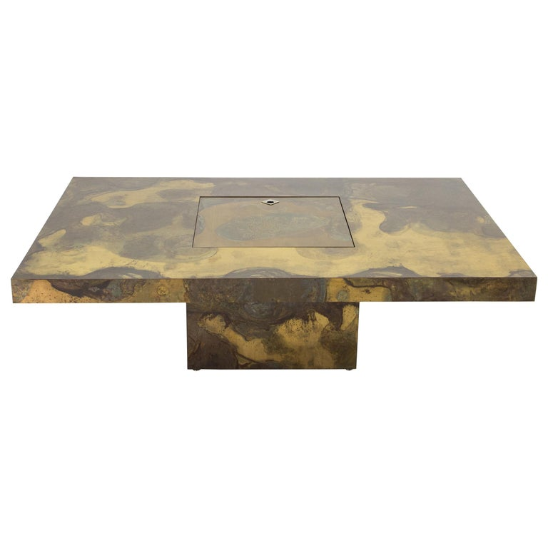 Unique Isabelle and Richard Faure Brass Coffee Table, 1970s For Sale