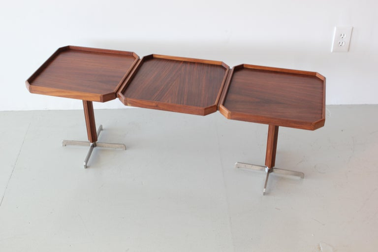 Unique 1950s Italian consoles attributed to Mangiarotti Teak squares with grain going opposite directions  brushed steel base Lower console tables still available.