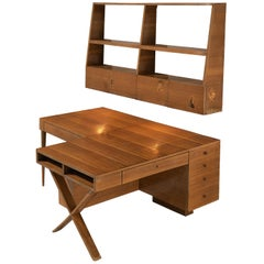 Unique Italian Double Desk with Wall-Shelf in Walnut with Marquetry