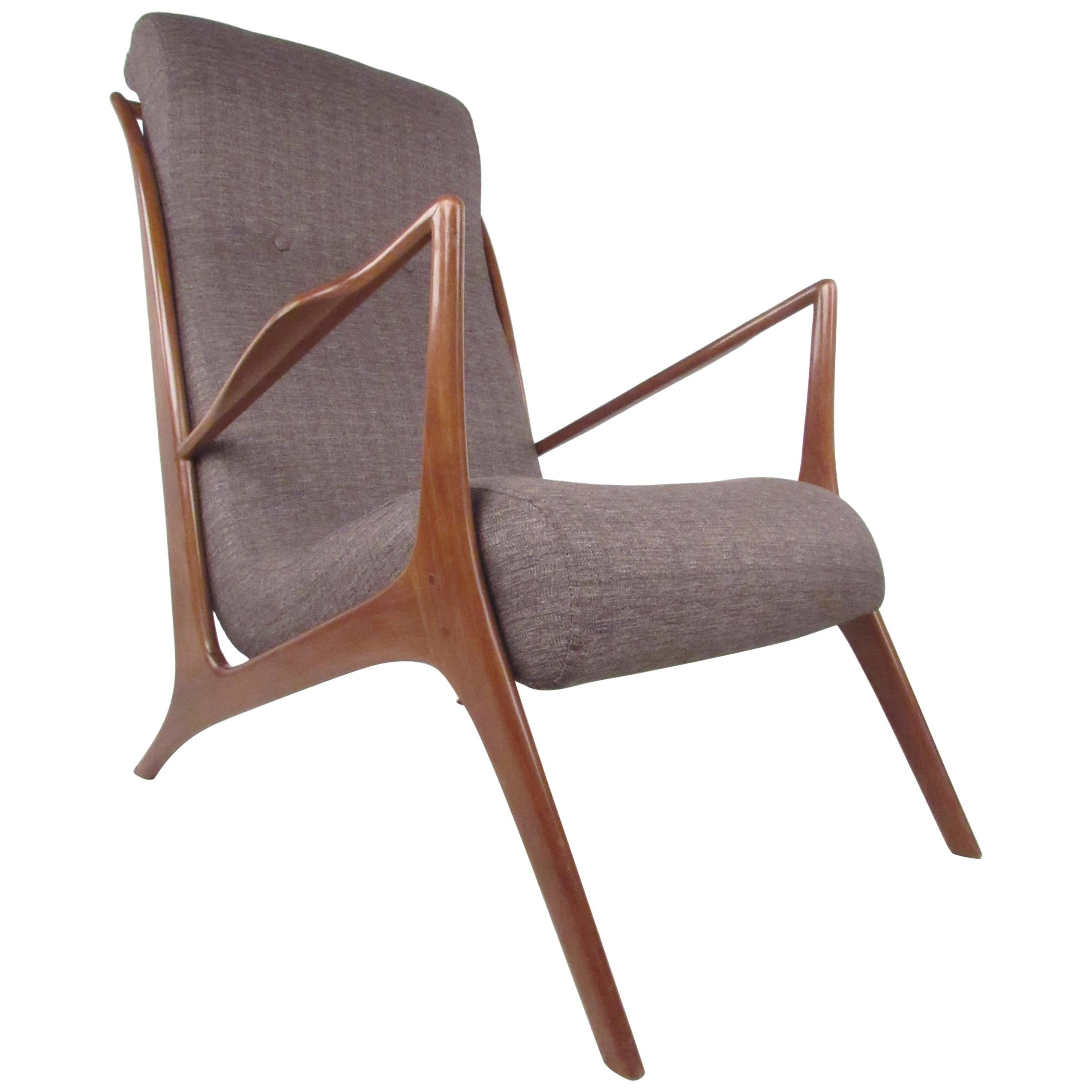 Unique Italian High Back Lounge Chair