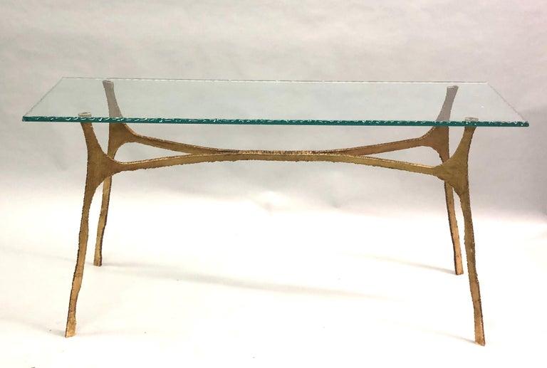 Mid-Century Modern Unique Italian Midcentury Gilt Iron Console / Sofa Table by Giovanni Banci For Sale