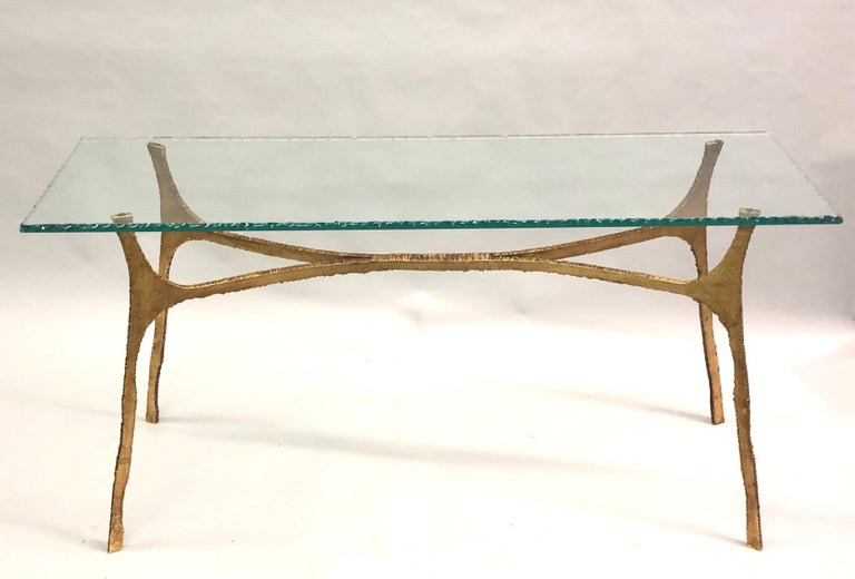 Carved Unique Italian Midcentury Gilt Iron Console / Sofa Table by Giovanni Banci For Sale