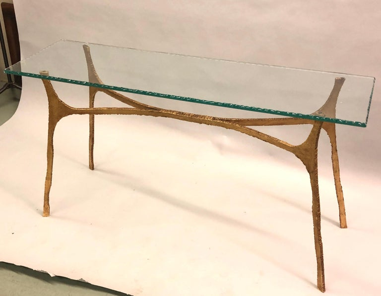 Unique Italian Midcentury Gilt Iron Console / Sofa Table by Giovanni Banci In Good Condition For Sale In New York, NY