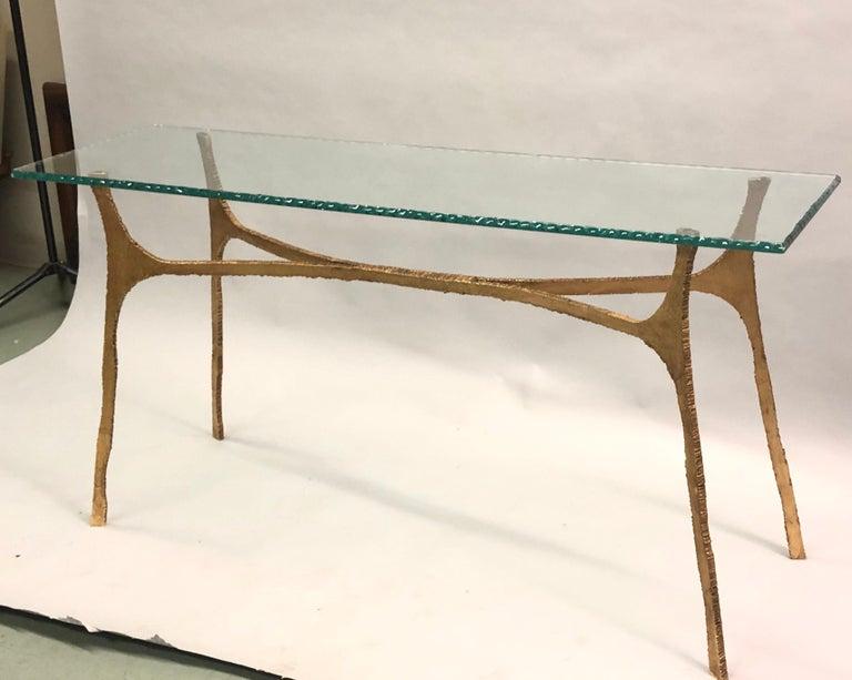 20th Century Unique Italian Midcentury Gilt Iron Console / Sofa Table by Giovanni Banci For Sale