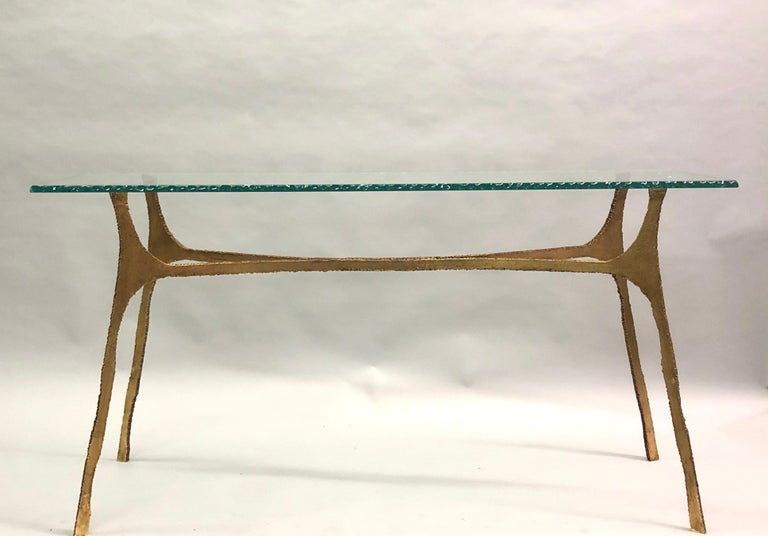 Glass Unique Italian Midcentury Gilt Iron Console / Sofa Table by Giovanni Banci For Sale