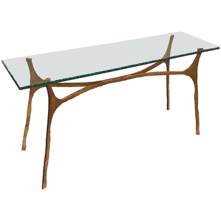 Unique Italian Midcentury Gilt Iron Console / Sofa Table by Giovanni Banci For Sale
