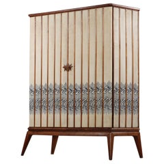 Unique Italian Wardrobes and Armoires Attributed to Gio Ponti Embroidered Fabric