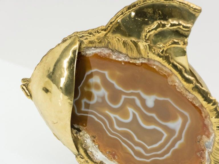 Unique Jacques Duval Brasseur Brass Agate Stone Lamp, 1970s For Sale 5