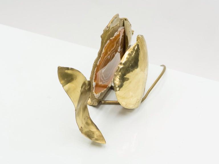 Unique Jacques Duval Brasseur Brass Agate Stone Lamp, 1970s For Sale 6