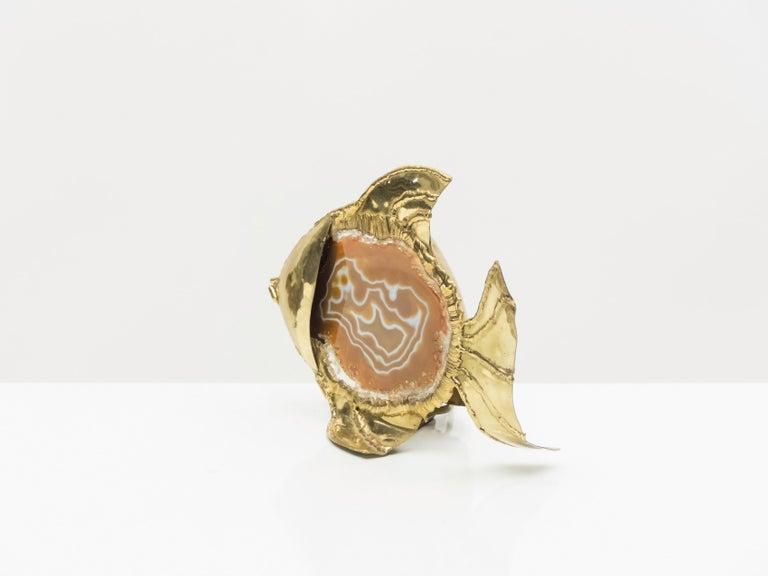 Late 20th Century Unique Jacques Duval Brasseur Brass Agate Stone Lamp, 1970s For Sale