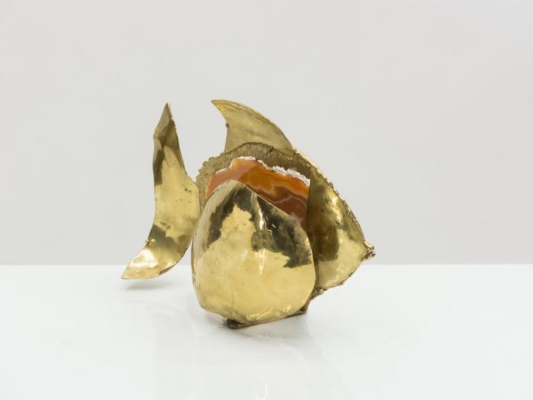 Unique Jacques Duval Brasseur Brass Agate Stone Lamp, 1970s For Sale 3