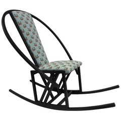 Unique Japanese Rocking Chair with a Black Lacquered Oak Frame