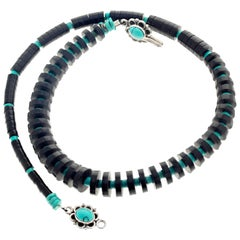 Unique Jet and Turquoise Necklace