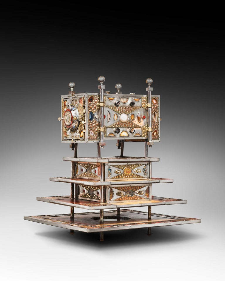 Daniel Arnoul, Jewelry cabinet 1995, measures: H 75 cm, L 68 cm, D 63, 5 cm, steel, silver, copper, semi-precious stones, agate, cornaline, rock crystal, precious woods, one of a kind, dated, signed
