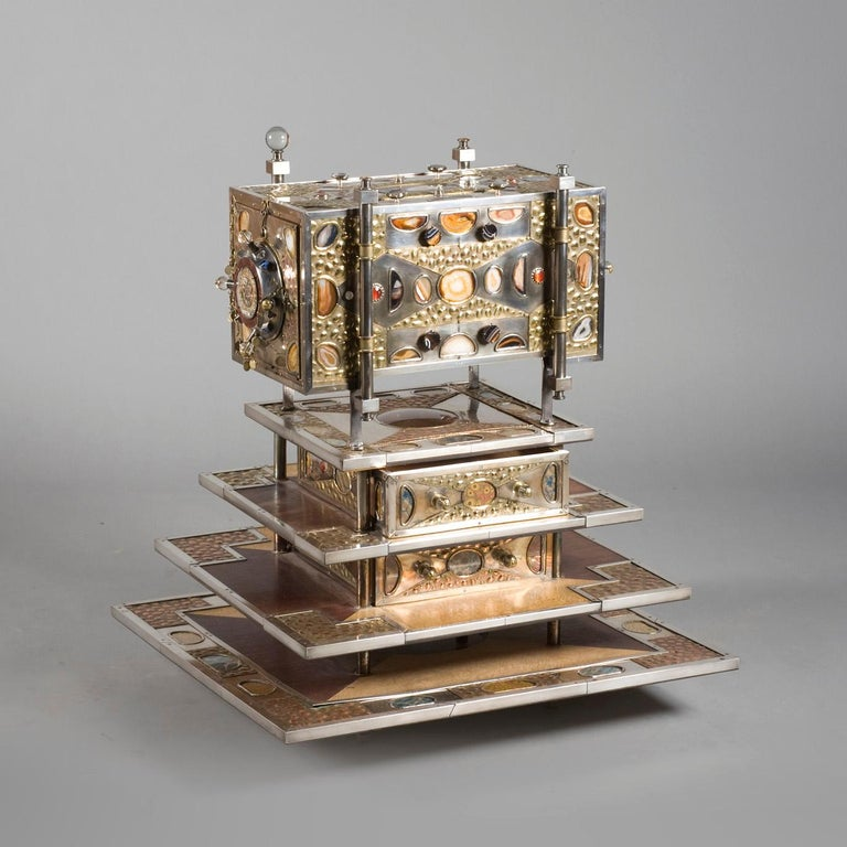 French Unique Jewelry Cabinet 1995 by Daniel Arnoul, Silver, Copper, Precious Stones For Sale