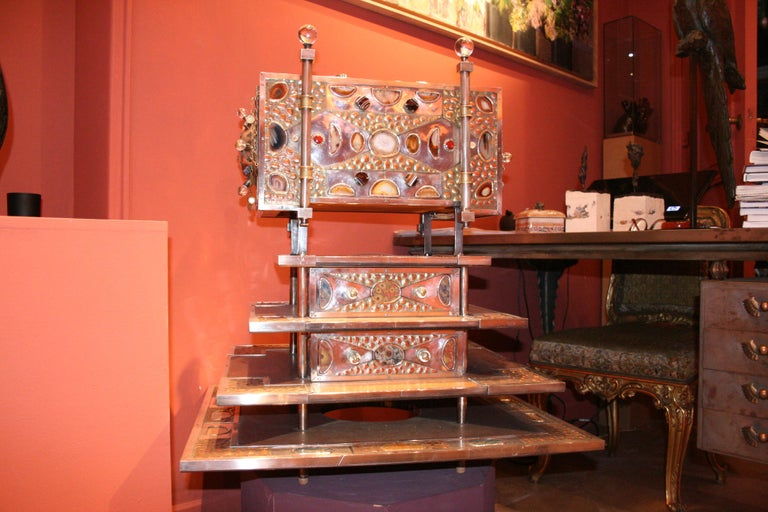 Unique Jewelry Cabinet 1995 by Daniel Arnoul, Silver, Copper, Precious Stones For Sale 2