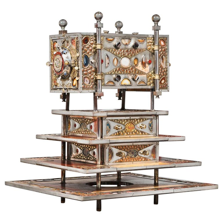 Unique Jewelry Cabinet 1995 by Daniel Arnoul, Silver, Copper, Precious Stones For Sale