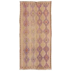 Unique Kilim Carpet with Embroidered Purple Diamonds and Simple Star Border