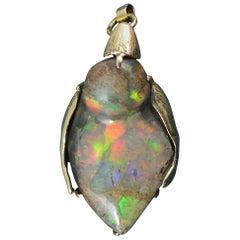 Unique Kookaburra Australian Boulder Opal and 14 Carat Gold Pendant