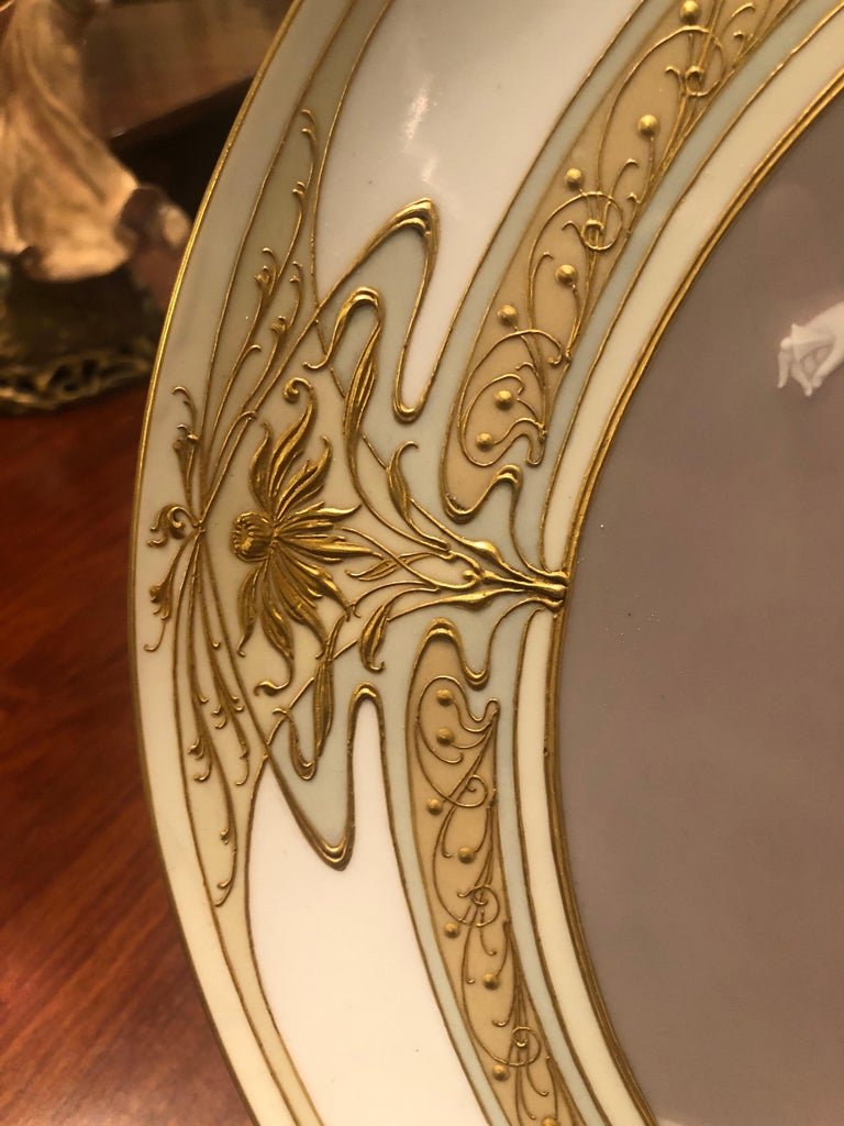 Unique KPM Berlin Plate, Pâte-sur-pâte, Art Nouveau, circa 1900 For Sale 4