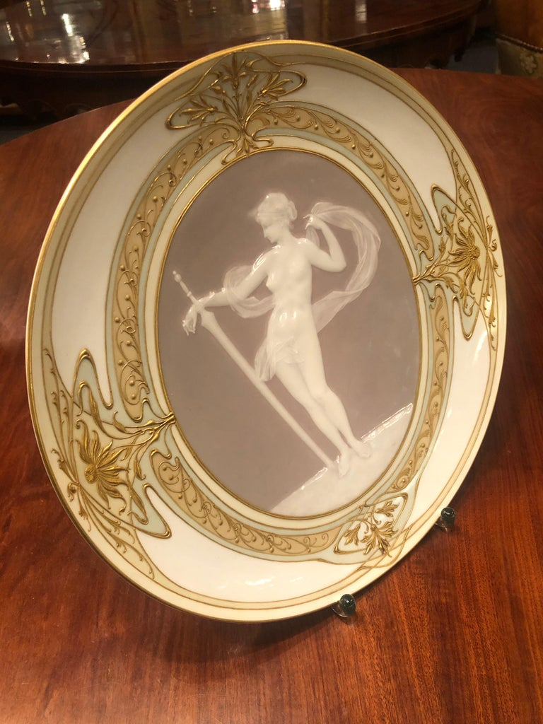 Porcelain Unique KPM Berlin Plate, Pâte-sur-pâte, Art Nouveau, circa 1900 For Sale