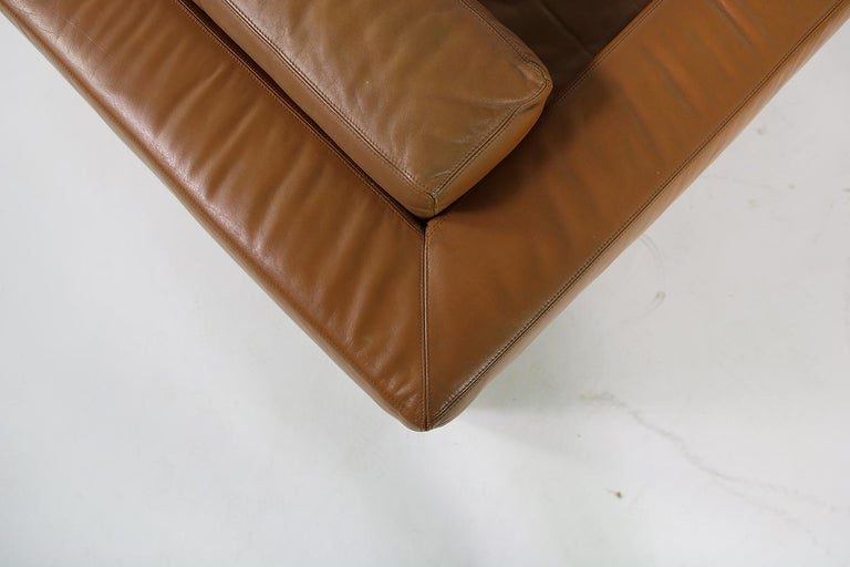 Unique & Large 1960s Landscape Sofa & Chairs Brown Leather Made to Order 1969 For Sale 3