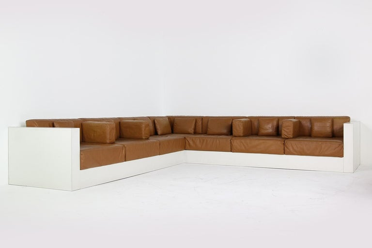 Unique & Large 1960s Landscape Sofa & Chairs Brown Leather Made to Order 1969 For Sale 4
