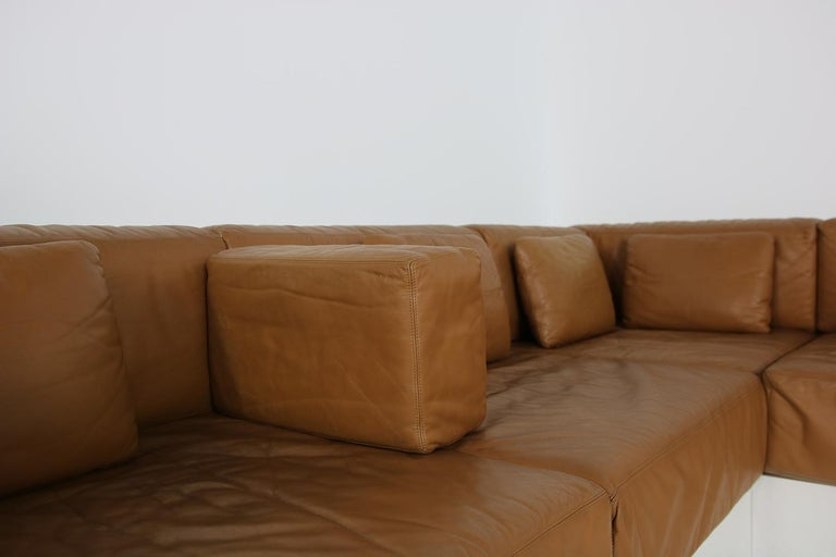 Unique & Large 1960s Landscape Sofa & Chairs Brown Leather Made to Order 1969 For Sale 5