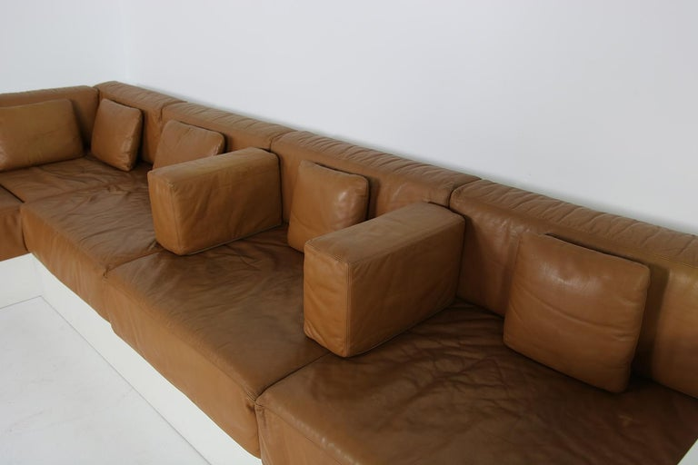 Unique & Large 1960s Landscape Sofa & Chairs Brown Leather Made to Order 1969 For Sale 7