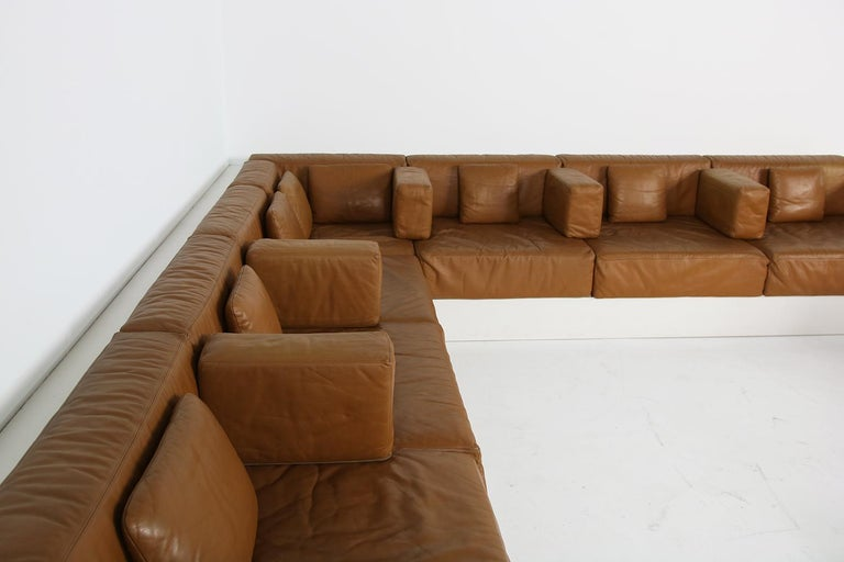 Unique & Large 1960s Landscape Sofa & Chairs Brown Leather Made to Order 1969 For Sale 8