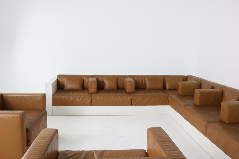 Unique & Large 1960s Landscape Sofa & Chairs Brown Leather Made to Order 1969 For Sale 9