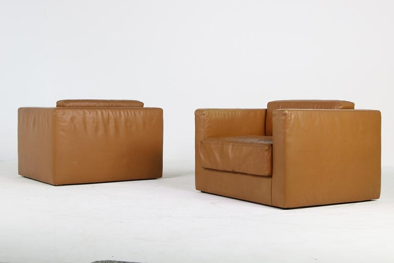 Unique & Large 1960s Landscape Sofa & Chairs Brown Leather Made to Order 1969 For Sale 11
