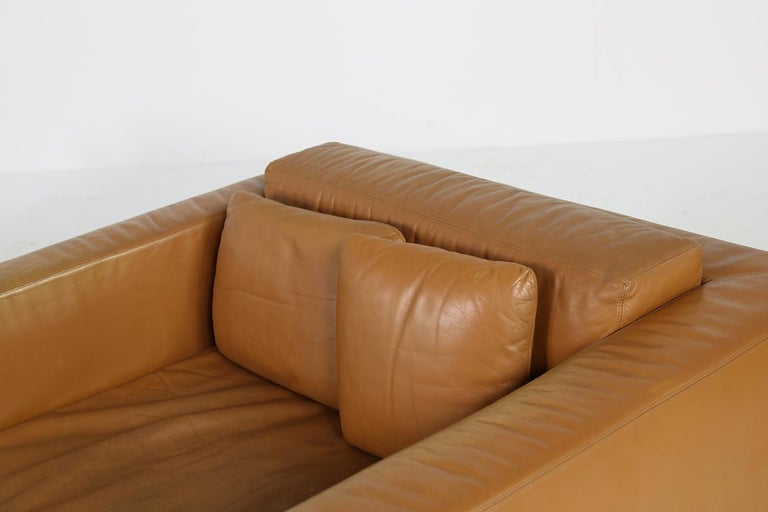 Unique & Large 1960s Landscape Sofa & Chairs Brown Leather Made to Order 1969 For Sale 12