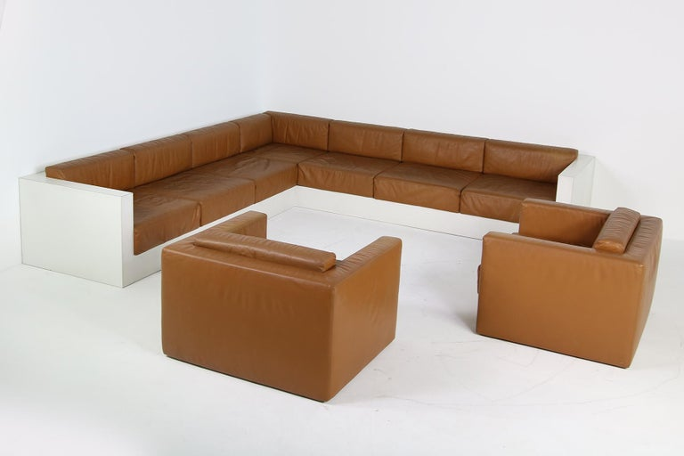 Beautiful seating group, unique! It was designed by an young architect and built by a carpenter and upholstery company in 1969 Made in Germany. So an unique piece, very large, for 8-12 people... it took weeks to build this, it was made to order for